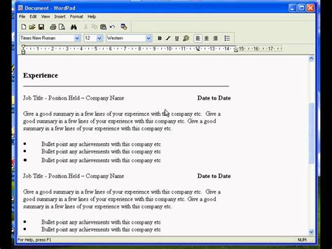 Resume Templates For Wordpad by Create A Resume In Wordpad
