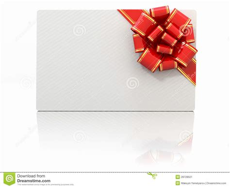 Text A Gift Card - blank gift card with ribbon and bow space for text stock image image 28728501