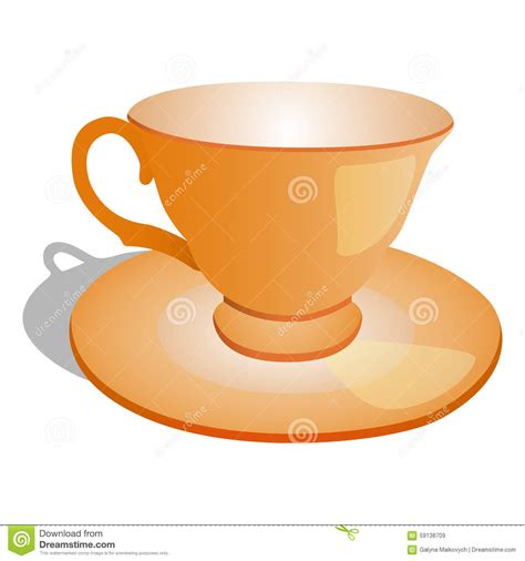 Cup On The Plate cup and plate stock vector image 59138709