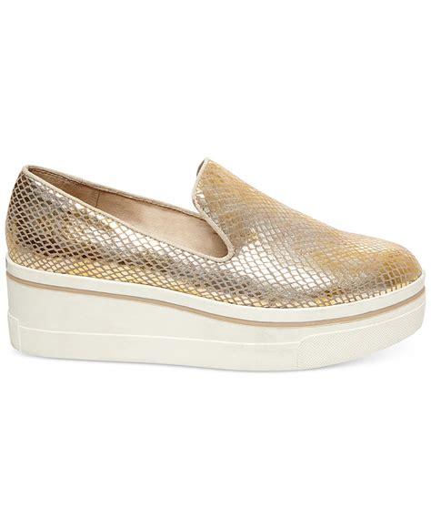 steve madden slip on sneakers steve madden evante platform slip on sneakers in metallic
