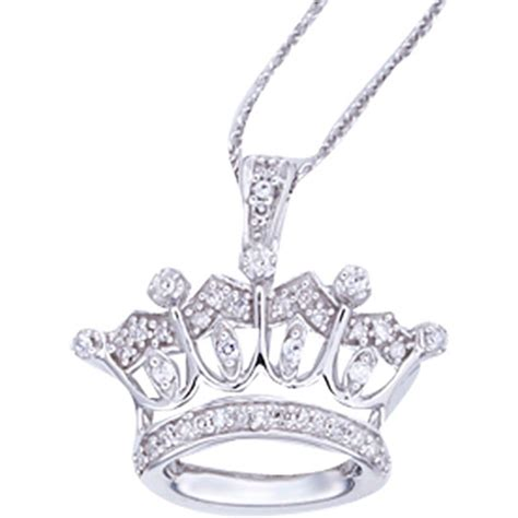 sterling silver 1 10 ctw princess crown pendant