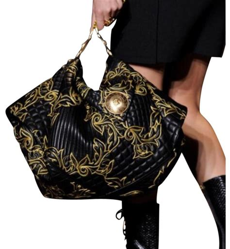 Versace 2008 Handbags Runway Review by Versace Limited Edition Runway F W 2011 Black Leather Hobo
