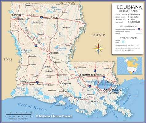 reference maps  louisiana usa nations  project