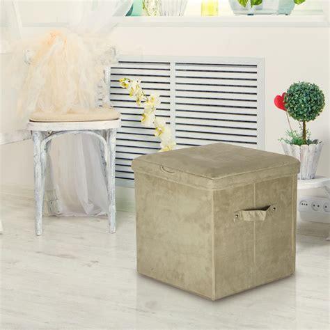 microsuede storage ottoman casual home beige microsuede seat pad folding storage