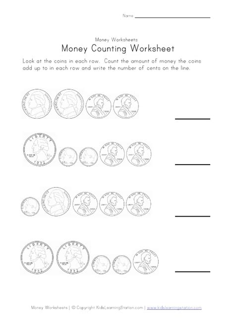 Coin Values Worksheet by Money Worksheets For Learning Station