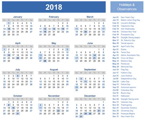 printable yearly calendars with holidays free printable 2018 calendar template free printable