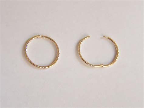 Sleeper Earrings Gold by 9ct Gold 15mm Cut Hinged Hoop Sleeper Earrings