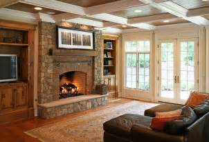 Bookcase Mantel Red Brick Fireplace Wall Color For Traditional Family Room