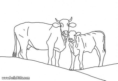 coloring pages of cow and calf calf with mother cow coloring pages hellokids com
