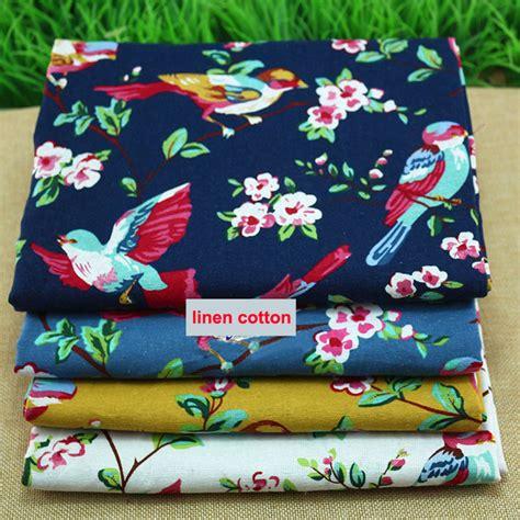Patchwork Cloth - birds floral print linen material cotton linen cloth