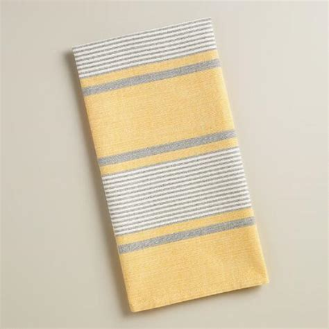 yellow and gray kitchen towels yellow and gray striped loire kitchen towels set of 2