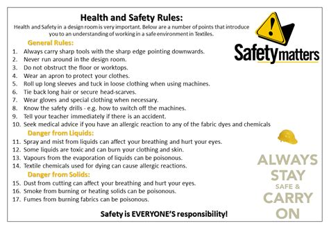 classroom layout health and safety gillotts textiles health safety health and safety rules