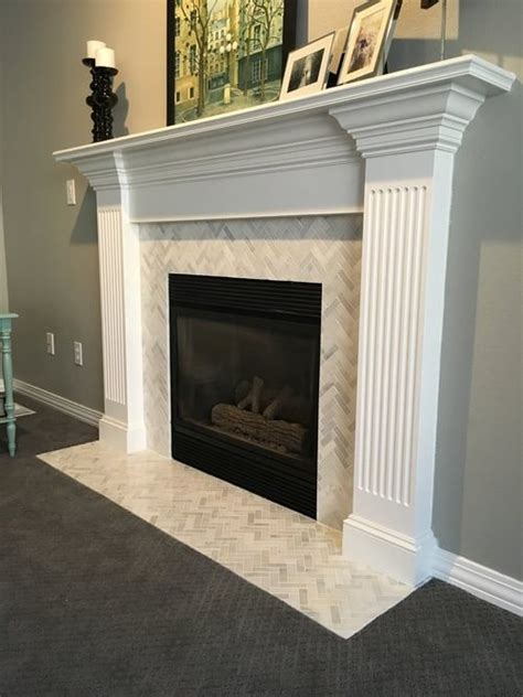 Marble Tile Fireplace Surround by Best 25 Herringbone Fireplace Ideas On White