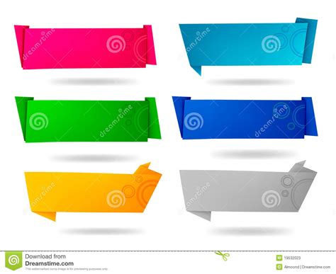 Origami Paper Set - set with colorful origami paper banners stock photos