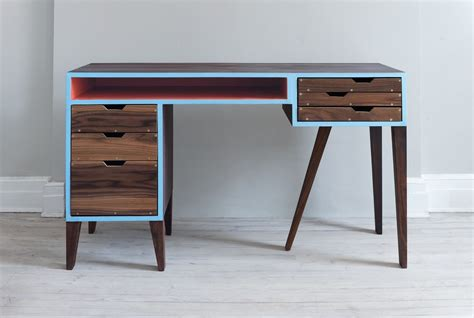 mid century desk hand made mid century modern desk by kevin michael burns