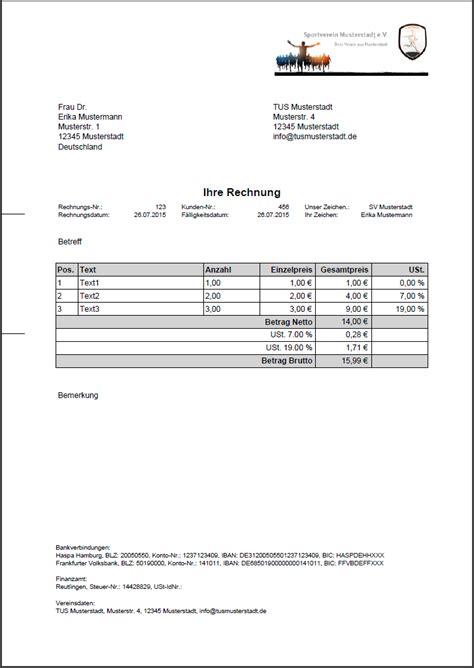 Muster Rechnung Gemeinnütziger Verein Rechnungen Hilfe S Verein
