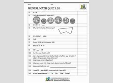 Mental Math 3rd Grade Maths Quiz Questions With Answers For Class 10