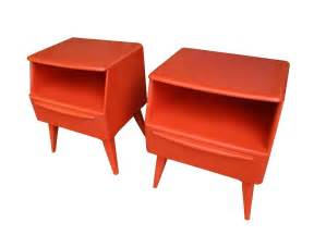 red mid century modern nightstands bedside tables by