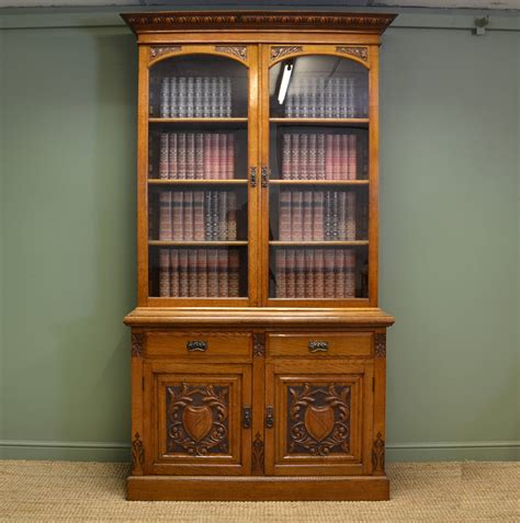 Antique Bookcase quality solid oak antique bookcase on cupboard