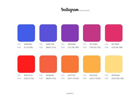 logo colors instagram logo and color pallete free psd
