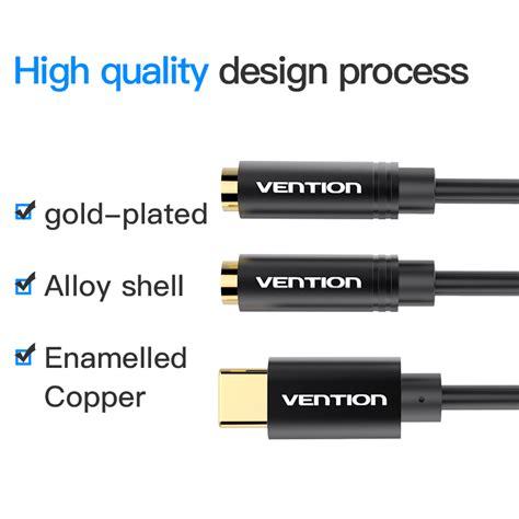 Kabel Aux Audio Splitter Earphone To Dual 35mm vention type c naar dual 3 5 mm aux audio kabel splitter adapter voor hoofdtelefoon luidspreker