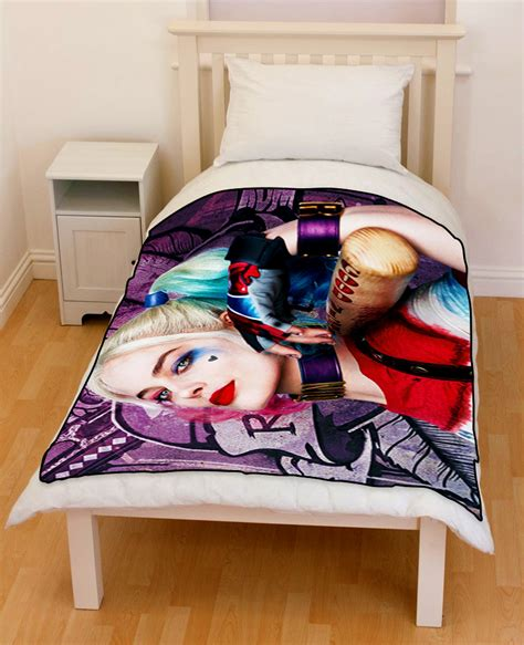 harley quinn bedding suicide squad harley quinn bedding throw fleece blanket