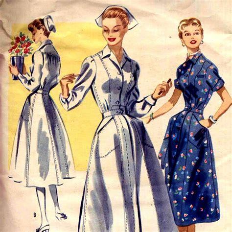 vintage nurse pattern 1950s nurses uniform vintage sewing pattern mccalls 3419