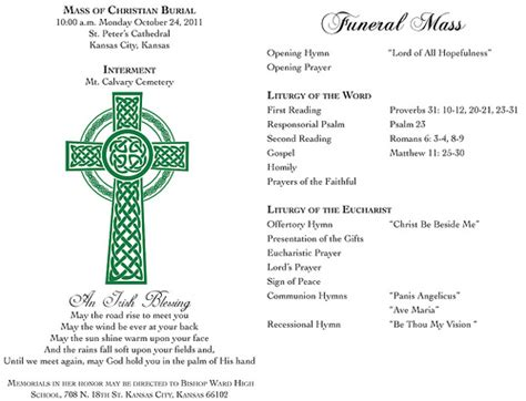 funeral mass program template catholic funeral program exles