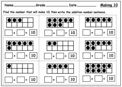 Ten Frame Worksheets 11 20