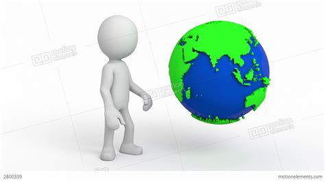 Stock 3d Characters 3d character the earth rotates stock animation