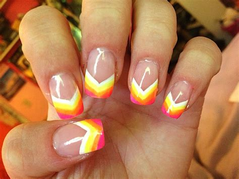 7 Tips For Summer Nails by Neon Rainbow Painted Nail Tips Acrylic Nail Design