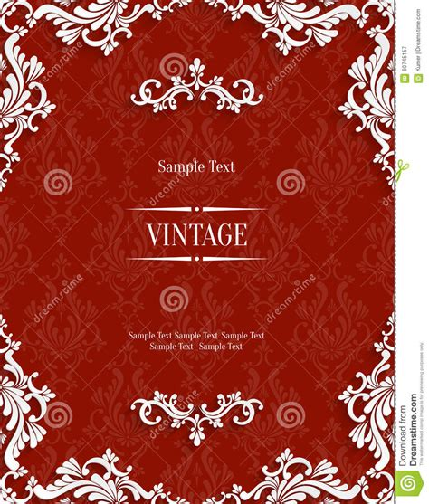 3d invitation card template vector 3d vintage invitation card with floral damask