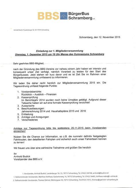Muster Einladung Zur Ordentlichen Mitgliederversammlung Einladung Zur 1 Mitgliederversammlung B 252 Rgerbus Schramberg E V