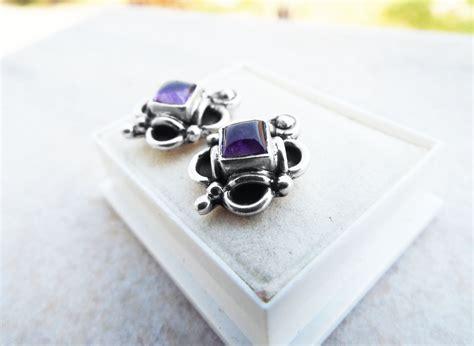 Handmade Amethyst Jewelry - amethyst earrings silver studs gemstone handmade sterling