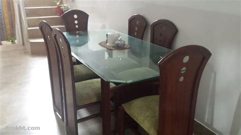 6 chair glass top dining table furniture for sale in