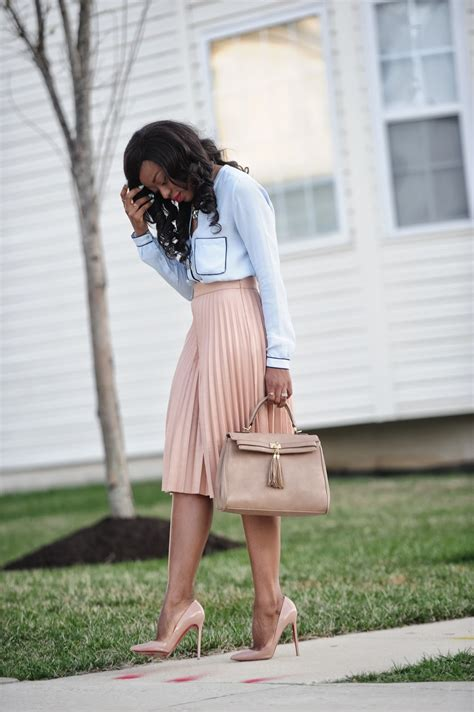 work style pleated skirt button  shirt jadore fashion