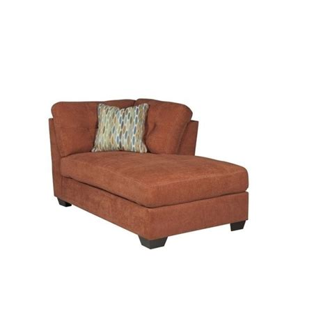 ashley chaise lounge ashley delta city right arm fabric chaise lounge in rust