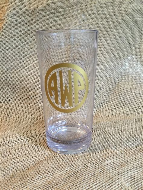 monogram barware monogrammed acrylic highball glass tumbler bar barware