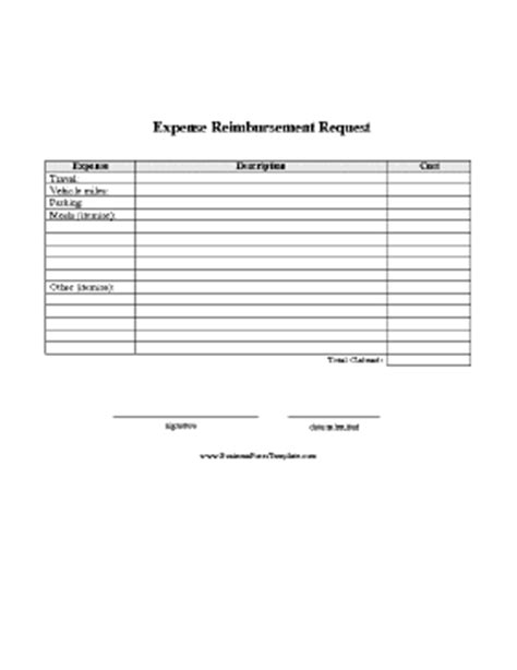 expense reimbursement request report template