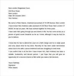 Letter To A Judge Template by Sle Character Letter For Court Templates 8