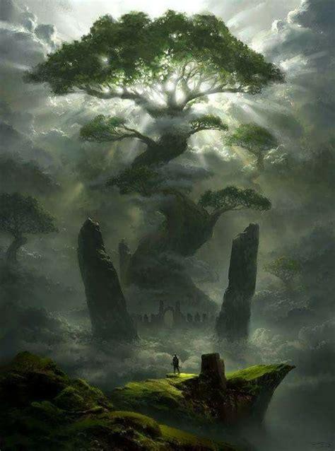 giant tree art epic fantasy art landscapes fantasy