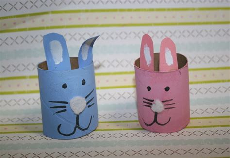 Toilet Paper Easter Bunny Craft - boy bunny toilet paper roll inhabitots