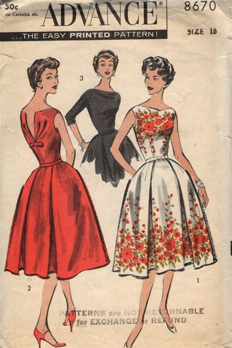vintage patterns 1950s a 1849940940 vintage 1950s advance sewing pattern 8670 misses dress with draped back bodice size 15 bust