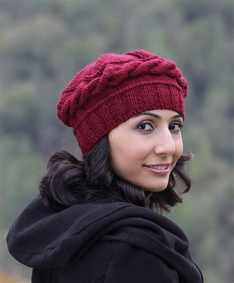 womens knitted hats burgundy knit hat burgundy hat burgundy winter beret