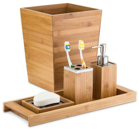 Modern Bamboo Bathroom Accessories Home Basics Bamboo Bathroom Accessory Set Modern