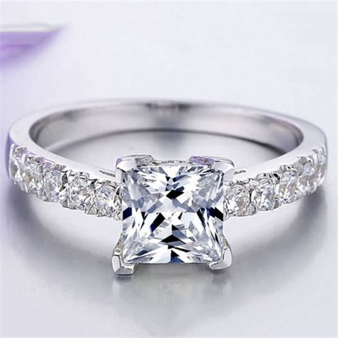 europe popular 925 sterling silver inlaid 2ct princess cut