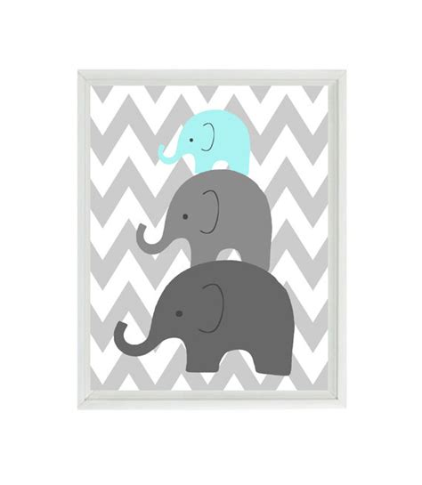 printable baby art elephant nursery wall art chevron mom baby dad family aqua