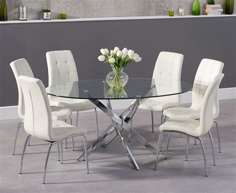 Glass Dining Room Table Calgary Denver 165cm Glass Dining Table With Calgary Chairs