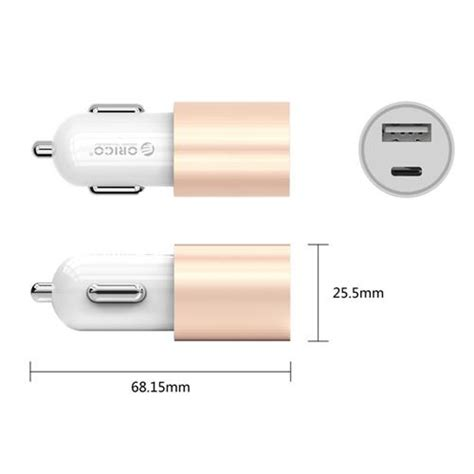 Orico Car Charger Dual Usb Ucm 2u Gold orico ucf 2u dual port car charger gold