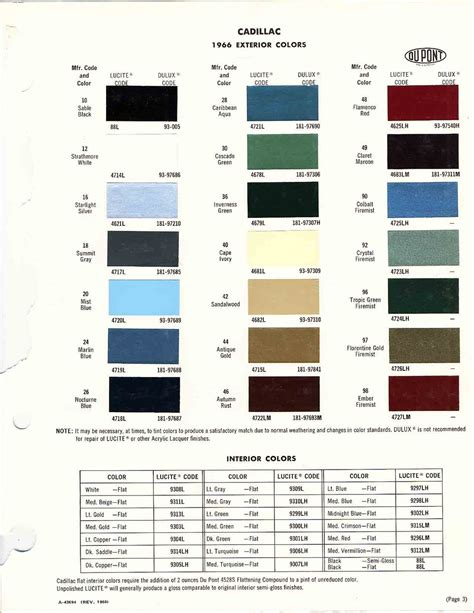 official cadillac color names and paint codes page 4